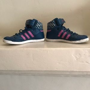 Adidas high tops in navy and pink. Barely worn!